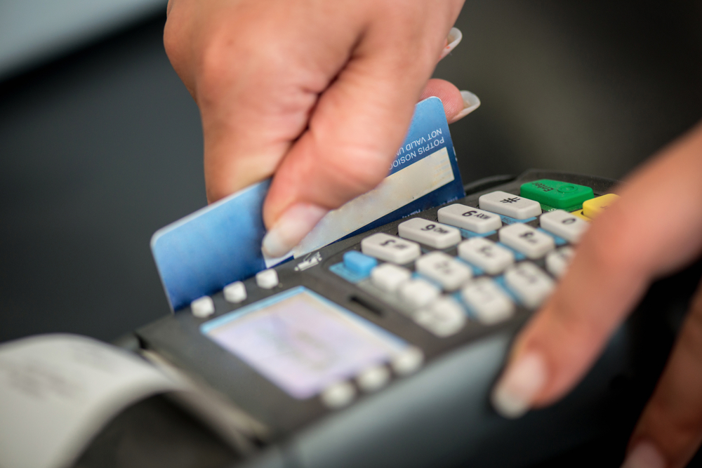 Debit card swiping on card-reader device-1