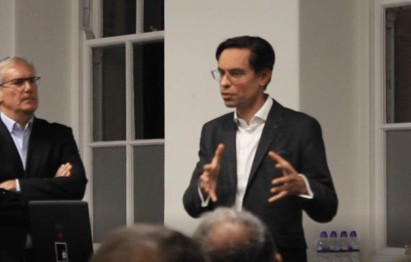 Imran Gulamhuseinwala speaking at the Open Banking for Investors evening